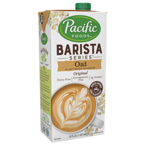 Pacific Foods Oat Milk Beverage Reviews and Info - 3 Organic and 1 Barista variety, all dairy-free, soy-free, nut-free, and vegan