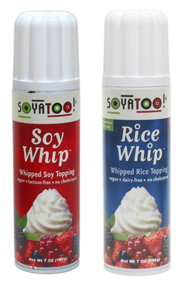 Store-Bought and Homemade Recipe Options for truly Dairy-Free and Vegan Whipped Cream (Soyatoo Soy & Rice Whips pictured)