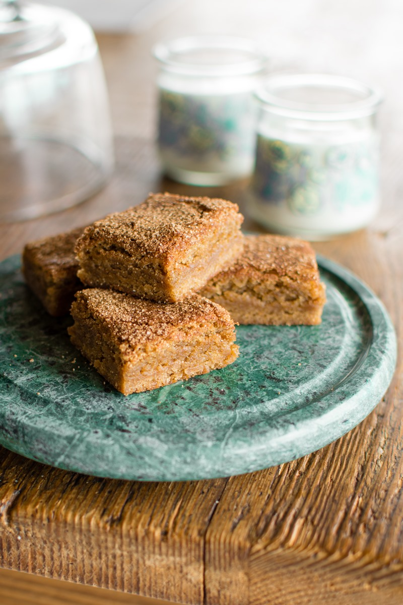 Dairy-Free Snickerdoodle Blondies Recipe - a positively delicious, chocolate-free cookie bar with cinnamon-sugar crust. Easy, party ready, perfect for cookie swaps. Also soy-free and nut-free.