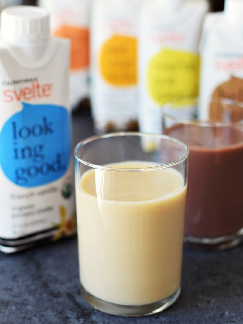 Svelte Organic Soy Protein Shakes - Dairy-Free, gluten-free, vegan, and a light meal replacer. Flavors appeal to kids & adults! (pictured: French Vanilla & Chocolate)