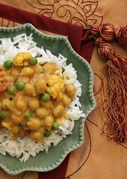 Vegan Coconut Curry Chickpeas and Cauliflower