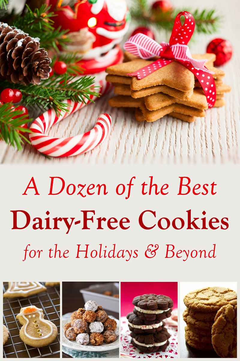 A Dozen of the Best Dairy-Free Cookie Recipes for the Holidays - Extra Recipes & Fun Ideas Included. Vegan, Gluten-Free, and Allergy-Friendly Options too! Classic Christmas Cookies + Unique New Treats