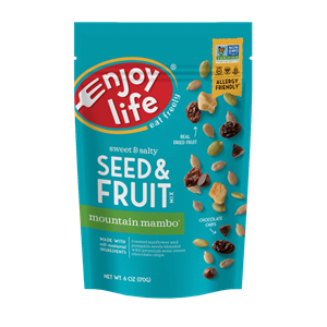 Enjoy Life Seed & Fruit Mix Reviews and Information - Beach Bash and Mountain Mambo, top allergen-free, vegan, paleo, gluten-free, and fodmap-friendly