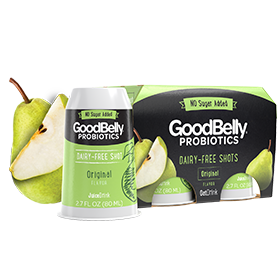 GoodBelly Shots are Dairy-Free Probiotic Supplement Drinks. Pictured: Original StraightShot