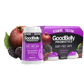 GoodBelly Shots are Dairy-Free Probiotic Supplement Drinks made with Oats and Fruit Juice. Pictured: Pomegranate Blackberry PlusShot