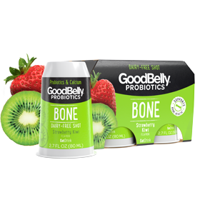 GoodBelly Shots are Dairy-Free Probiotic Supplement Drinks made with Oats and Fruit Juice. Pictured: Strawberry Kiwi Bone SuperShots