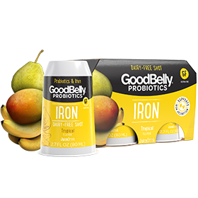 GoodBelly Shots are Dairy-Free Probiotic Supplement Drinks made with Oats and Fruit Juice. Pictured: Tropical Iron Super Shots