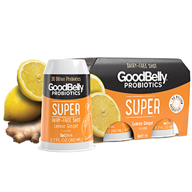 GoodBelly Shots are Dairy-Free Probiotic Supplement Drinks made with Oats and Fruit Juice. Pictured: Lemon Drop SuperShots