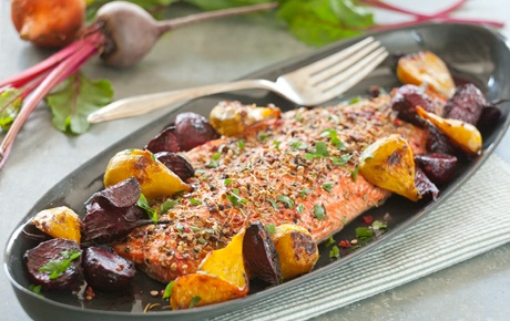 Spice Crusted Healthy Salmon Recipe with Roasted Ginger Beets