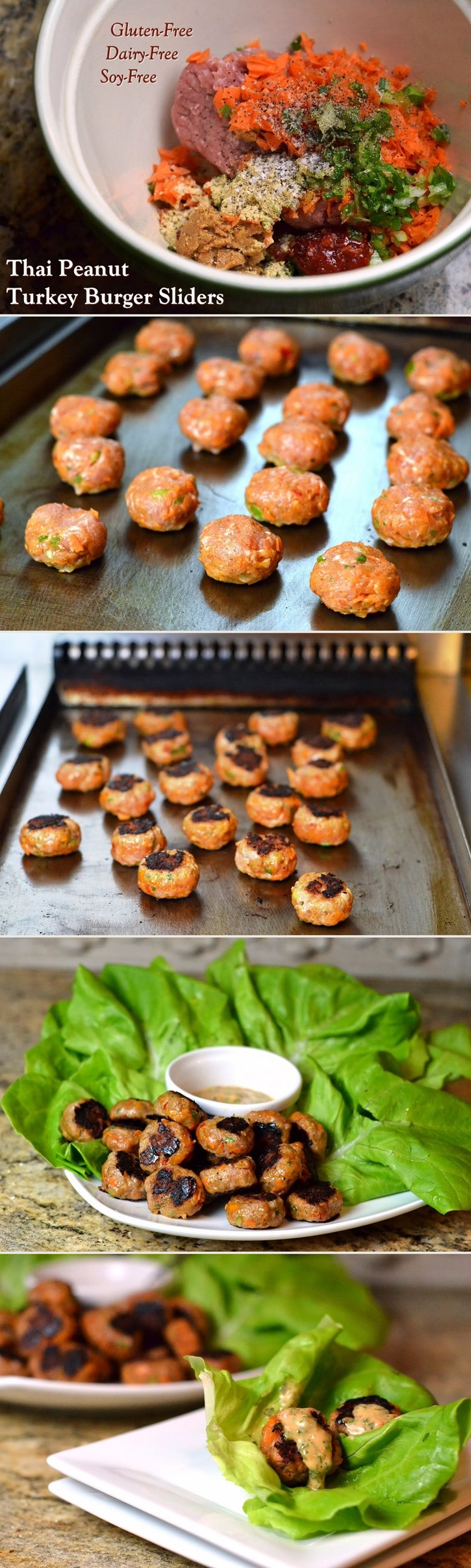 Thai Peanut Turkey Burger Sliders Recipe on Buns or in Lettuce Wraps (dairy-free, gluten-free, soy-free with egg-free and peanut-free options)