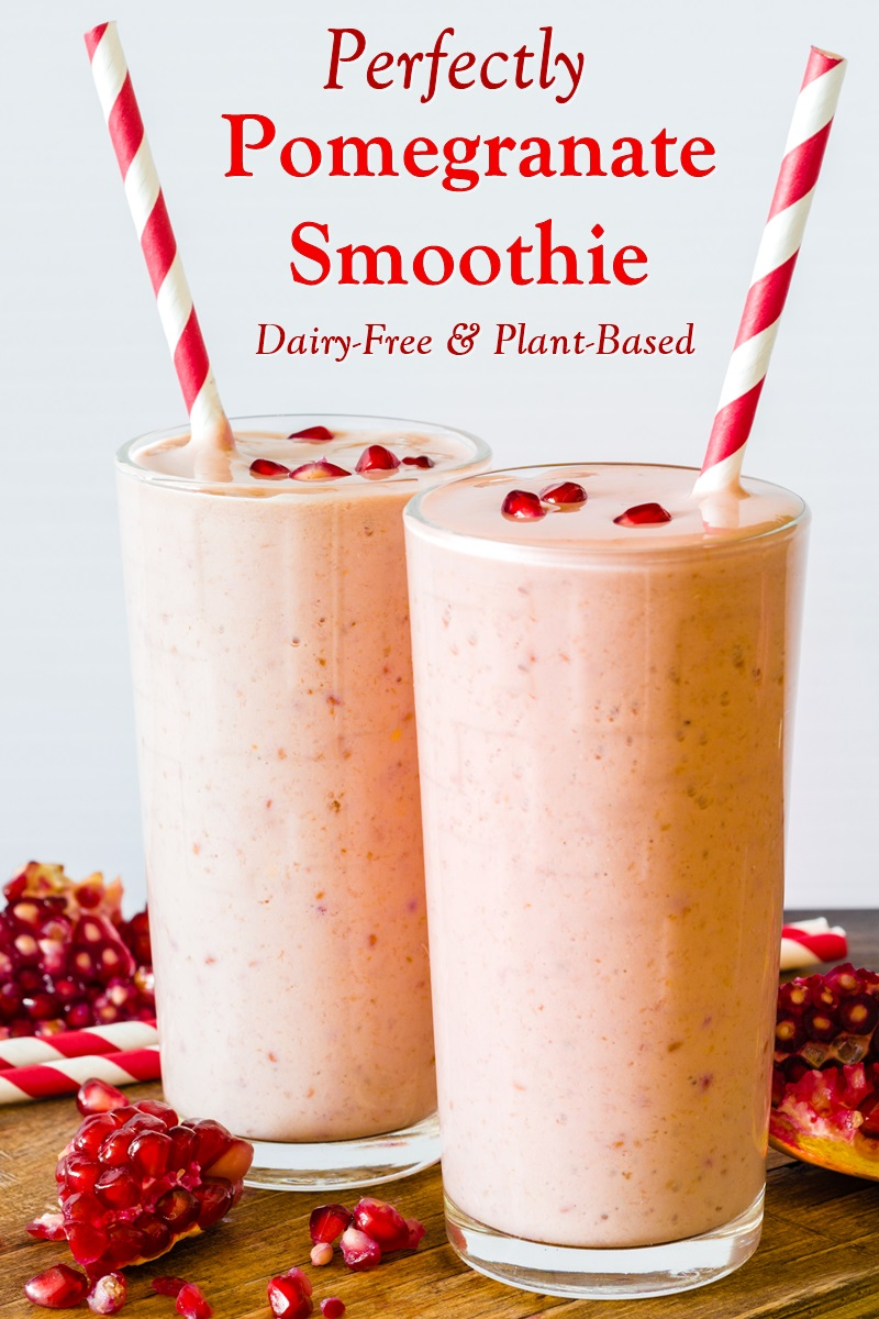 Dairy-Free Pomegranate Smoothie Recipe - Creamy, Delicious, Healthy, and Naturally Vegan, Plant-Based and Paleo with Allergy-Friendly Options