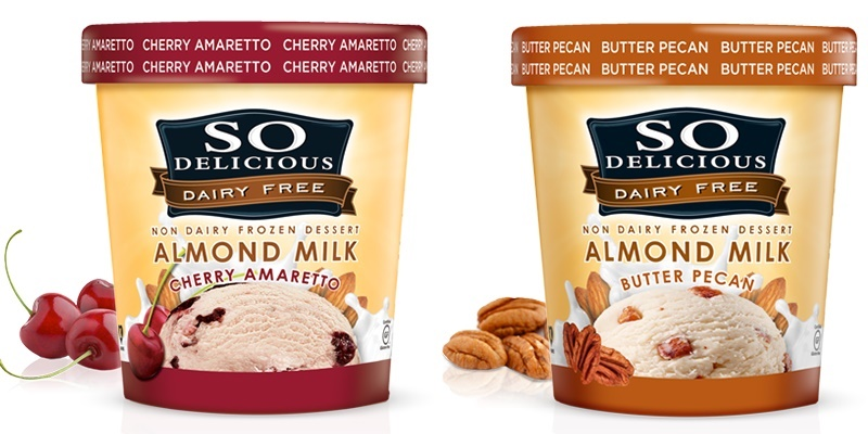 So Delicious Dairy Free Almond Milk Ice Cream - Cherry Amaretto and Butter Pecan