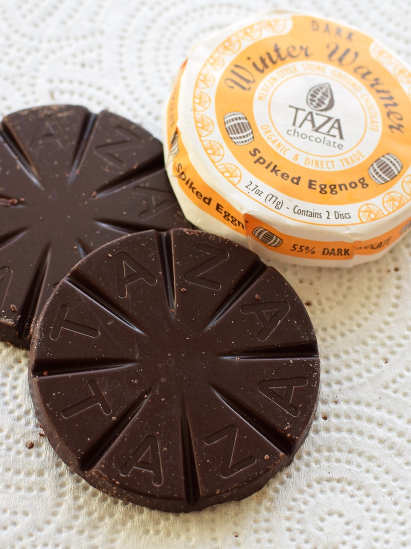 Taza Chocolate - Organic Stone Ground Mexicano Discs (amazing, unique dairy-free, soy-free and vegan chocolate with true grit) - Spiked Eggnog shown!