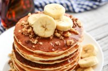 Easy Vegan Maple Walnut Pancakes Recipe with Cinnamon-Toasted Walnuts - chef-created recipe, dairy-free, egg-free, with soy-free option