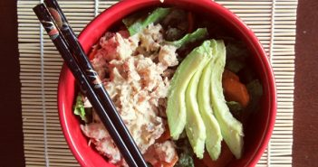 Avocado and Canned Salmon Salad with Sweet Wasabit Dairy-Free Dressing