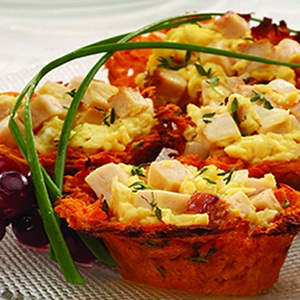 Gluten-Free Brunch Recipe: Chicken & Eggs in Sweet Potato Nests