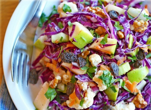 Mayo-Free Crunchy Cabbage Salad - Vegan / Vegetarian