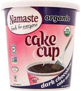 Namaste Organic Cake Cups Reviews and Information - Top Allergen-Free, Gluten-Free, Vegan, Certified Organic Cake Cups and Mug Mixes in three classic varieties. Pictured: Chocolate