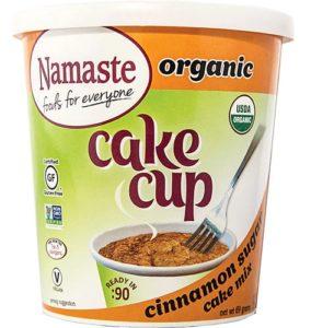 Namaste Organic Cake Cups Reviews and Information - Top Allergen-Free, Gluten-Free, Vegan, Certified Organic Cake Cups and Mug Mixes in three classic varieties. Pictured: Cinnamon Sugar