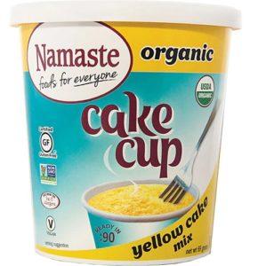 Namaste Organic Cake Cups Reviews and Information - Top Allergen-Free, Gluten-Free, Vegan, Certified Organic Cake Cups and Mug Mixes in three classic varieties. Pictured: Yellow Cake