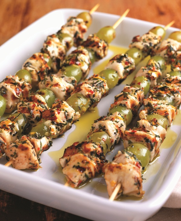 Mediterranean Grape Skewer Recipe - with Chicken or Tofu