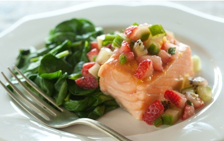 Easy Baked Salmon with Wilted Spinach and Strawberry Salsa