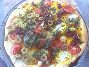 Heirloom Tomato & Olive Vegan Pizza