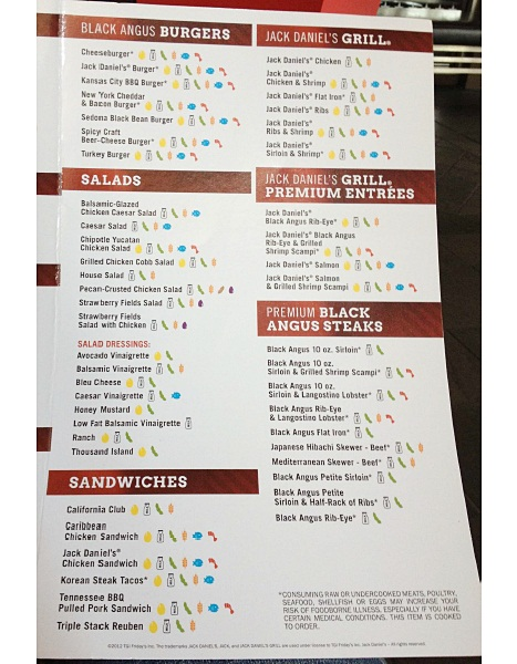 tgi fridays allergen menu