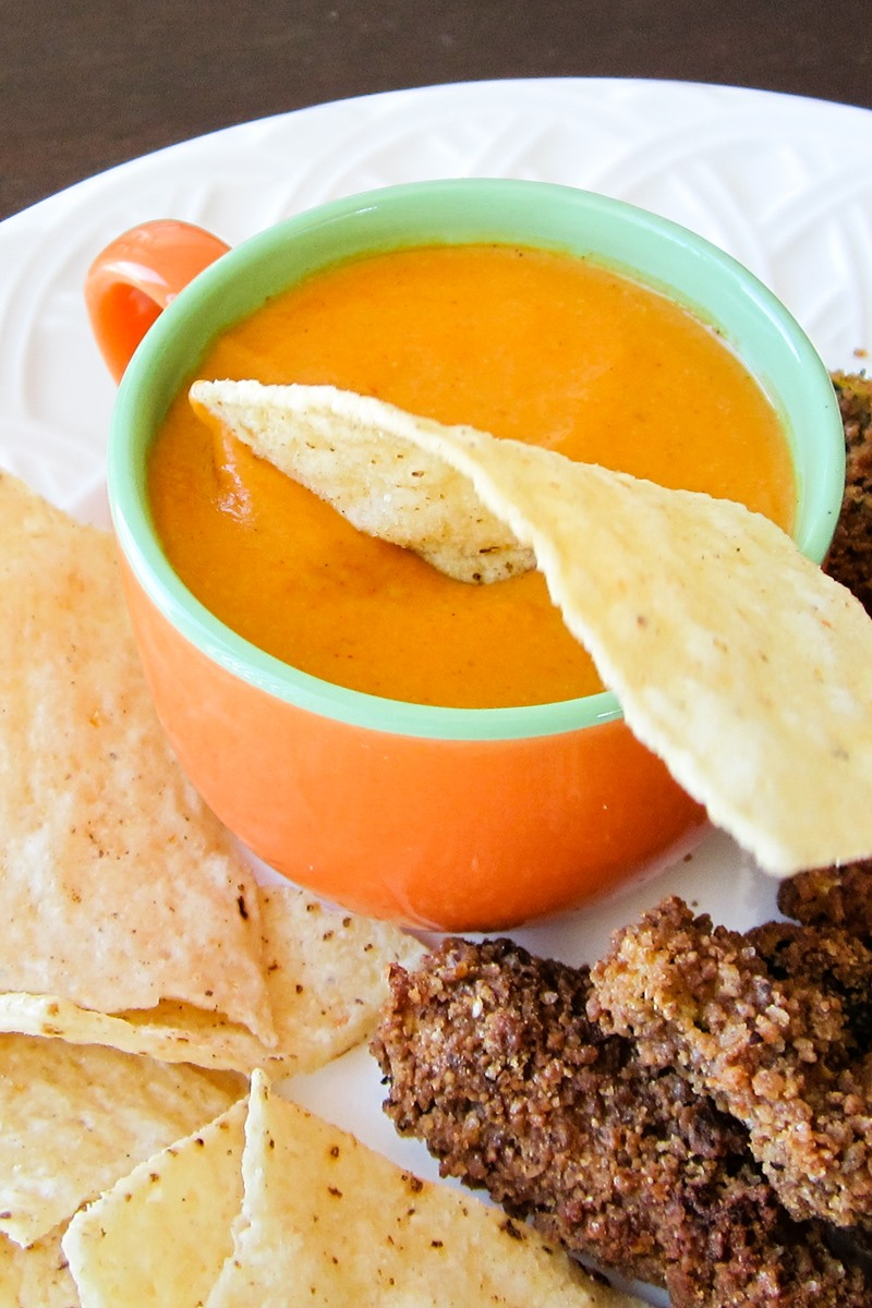 Dairy-Free Tomato Queso Dip Recipe for Your Slow Cooker (stovetop directions included) - plant-based, vegan, gluten-free, and soy-free too! Full-bodied flavor, rich texture, healthy ingredients.