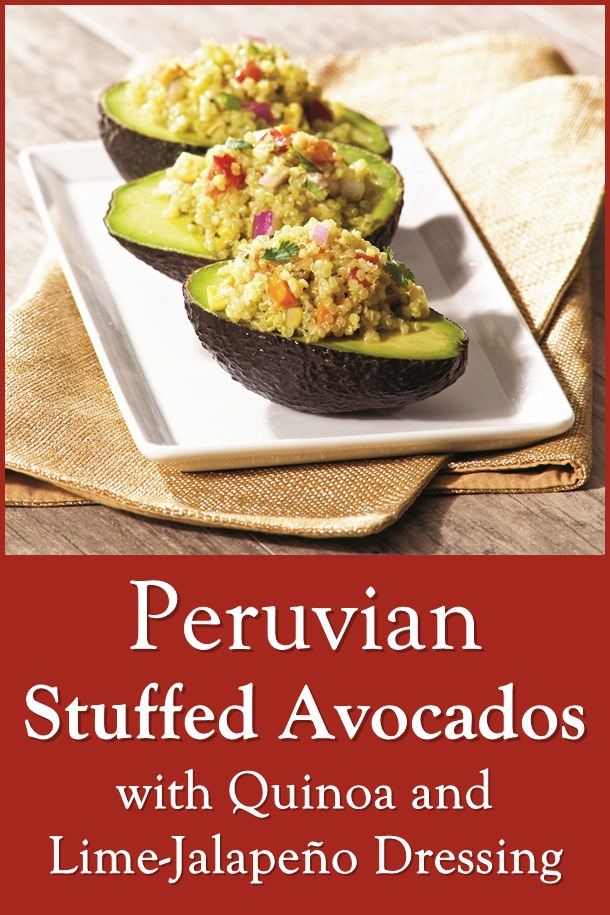 Peruvian Stuffed Avocados with Quinoa and Lime-Jalapeño Dressing - dairy-free, gluten-free, allergy-friendly, vegan, plant-based