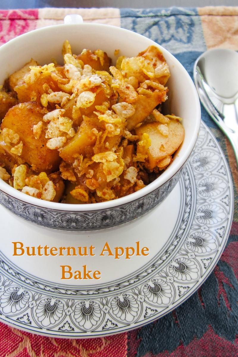 Butternut Apple Bake Recipe - healthy roasted butternut squash recipe with apples and a healthy crunch topping. Plant-based, vegan, gluten-free, allergy-friendly, breakfast or side dish.