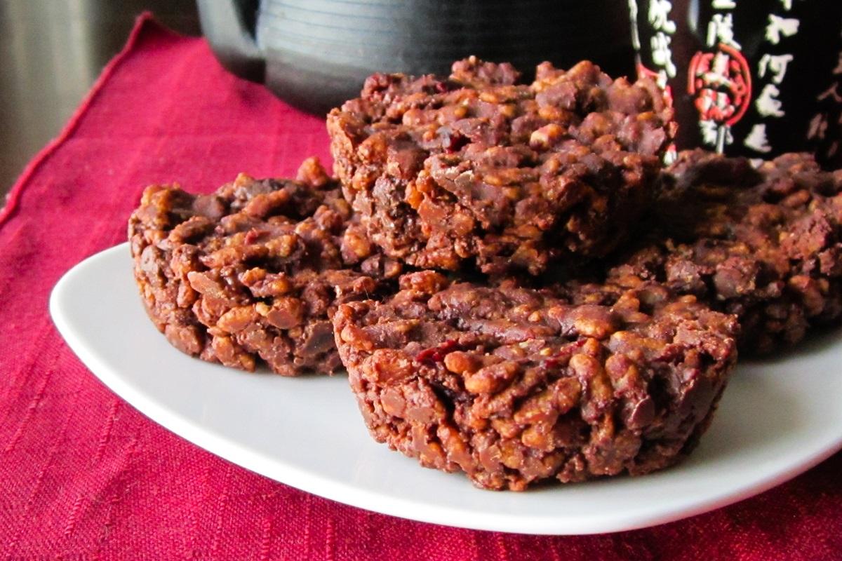 Chocolate-Covered Cranberry Crunch Bars Recipe - dairy-free, gluten-free, vegan