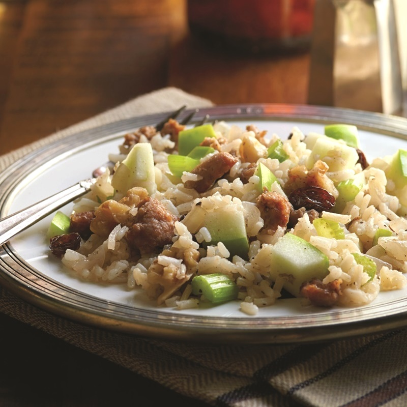 Dairy-Free Thanksgiving Recipes: Mains, Sides and Desserts! (pictured: sausage, apple and walnut rice stuffing)