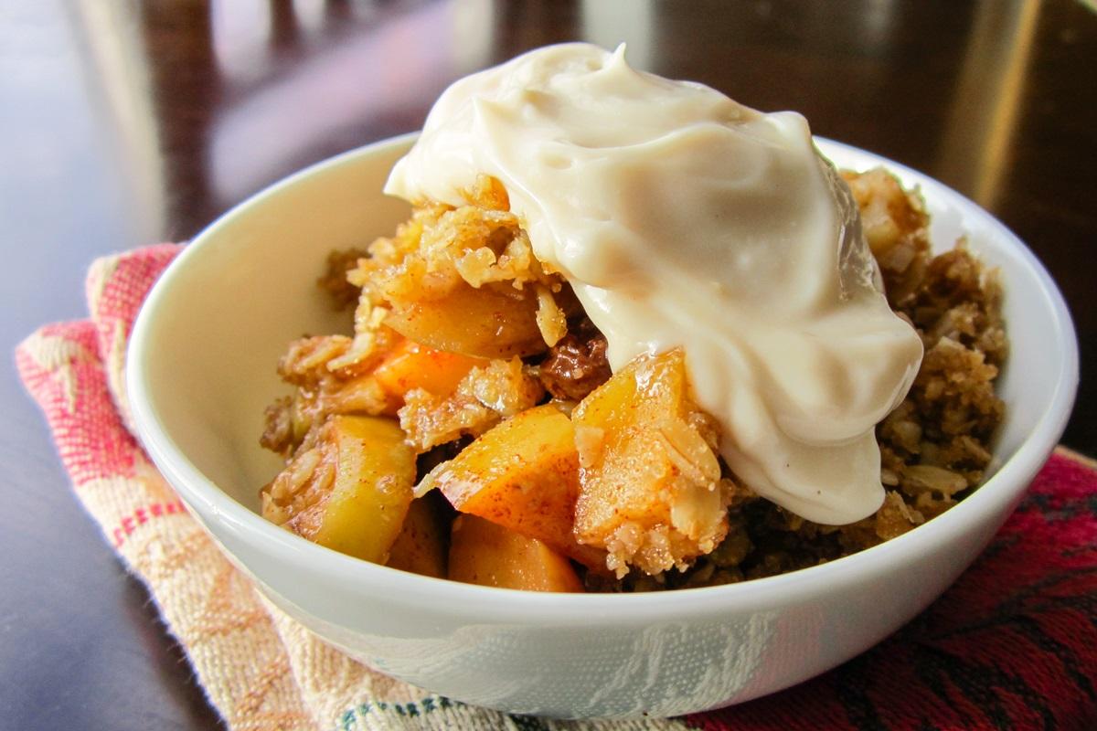 Oatmeal Apple Crisp Recipe - Like an Oatmeal Raisin Cookie! (Naturally Dairy-Free, Gluten-Free, Flourless, Nut-Free, and Vegan-Friendly)
