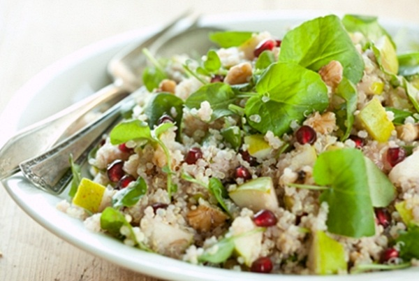 Gluten-Free Quinoa Side Dish Recipe with Pears and Pomegranate