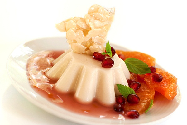 Vegan Panna Cotta Recipe - with Hibiscus Sauce and Homemade Almond Brittle