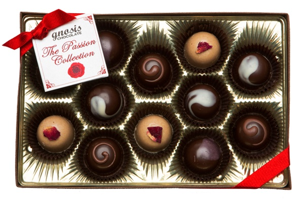Guide to the Best Dairy-Free Valentine Chocolate: Over 20 Chocolatiers with Vegan, Gluten-Free, Food Allergy-Friendly, Organic, Fair Trade and more! Pictured: Gnosis Passion Collection