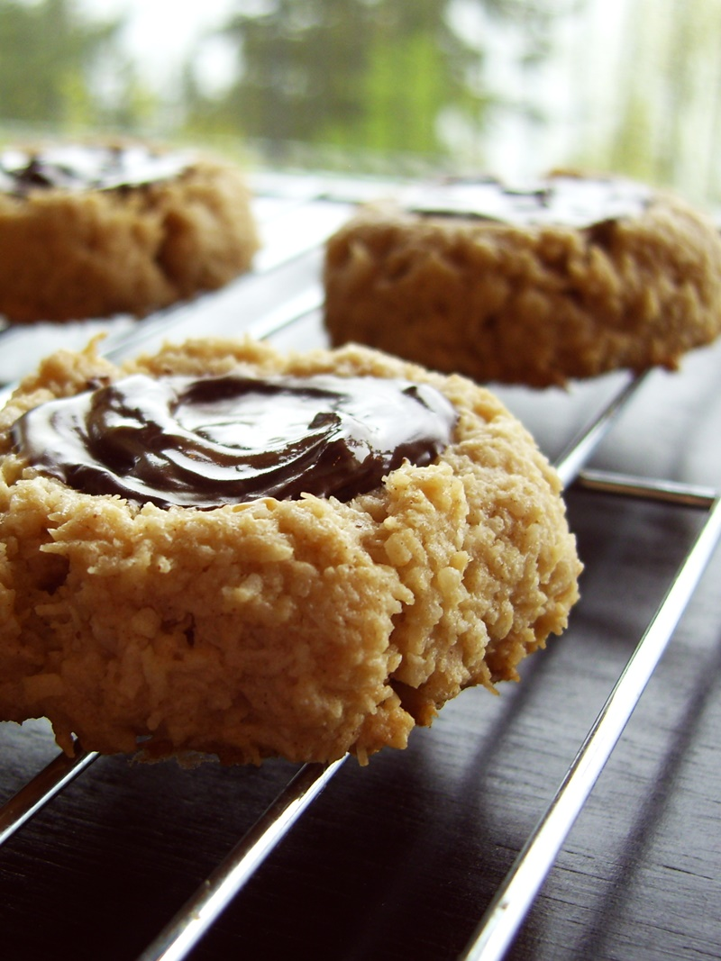 Good Healthy Snacks - Peanut Butter Chocolate Thumbprint Macaroons