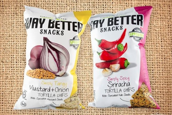 Way Better Snacks New Sprouted Tortilla Chips Flavors - Mustard + Onion and Sriracha