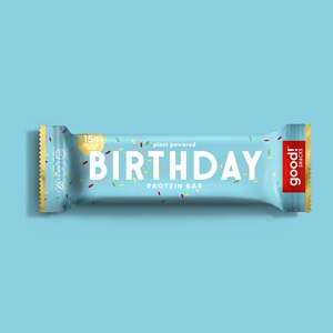 Good! Protein Bars Reviews and Info - Dairy-Free, Gluten-Free, Plant-Based Snack Bars that are high protein, high fiber, and relatively low sugar. Pictured: Birthday