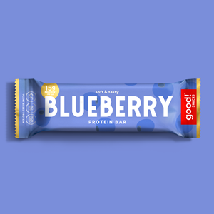 Good! Protein Bars Reviews and Info - Dairy-Free, Gluten-Free, Plant-Based Snack Bars that are high protein, high fiber, and relatively low sugar. Pictured: Blueberry