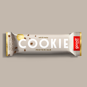 Good! Protein Bars Reviews and Info - Dairy-Free, Gluten-Free, Plant-Based Snack Bars that are high protein, high fiber, and relatively low sugar. Pictured: Cookie