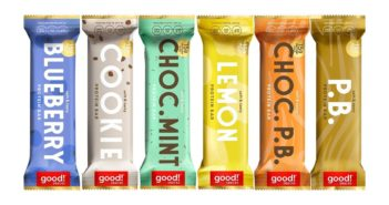 Good! Protein Bars Reviews and Info - Dairy-Free, Gluten-Free, Plant-Based Snack Bars that are high protein, high fiber, and relatively low sugar. Pictured: Variety