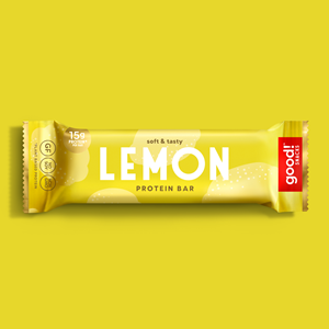 Good! Protein Bars Reviews and Info - Dairy-Free, Gluten-Free, Plant-Based Snack Bars that are high protein, high fiber, and relatively low sugar. Pictured: Lemon