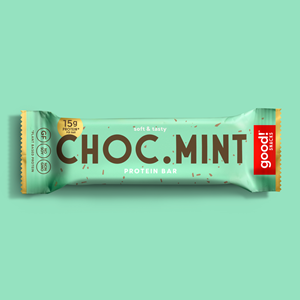 Good! Protein Bars Reviews and Info - Dairy-Free, Gluten-Free, Plant-Based Snack Bars that are high protein, high fiber, and relatively low sugar. Pictured: Choc Mint