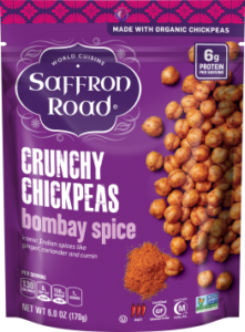 Saffron Road Crunchy Chickpeas Reviews and Info - dairy-free, gluten-free, vegan varieties - several flavors. Pictured: Bombay Spice
