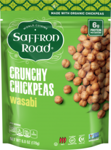 Saffron Road Crunchy Chickpeas Reviews and Info - dairy-free, gluten-free, vegan varieties - several flavors. Pictured: Wasabi