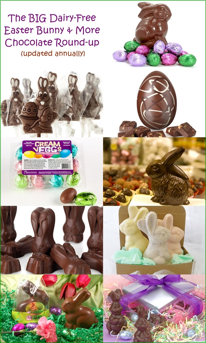 The Big Dairy-Free and Vegan Easter Bunny and More Chocolate Round-Up (updated annually - includes options for gluten-free, nut-free and soy-free - US, Canada & Europe)