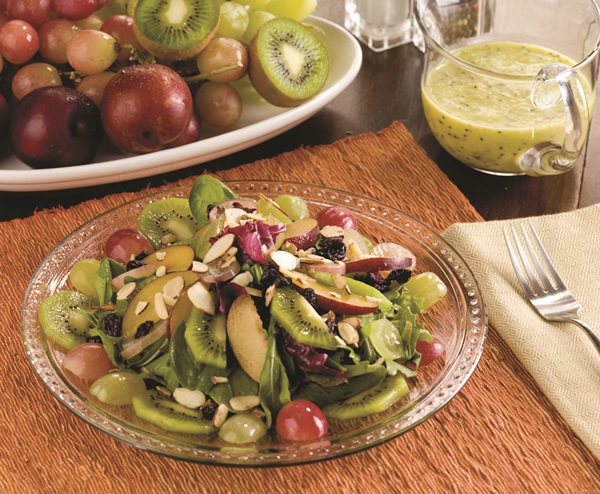 Vegan Spinach Salad Recipe with Fresh Fruit and Kiwi Vinaigrette