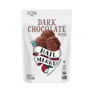Hail Merry Bites Reviews and Info - Little raw, vegan, dairy-free, gluten-free macaroons in healthy, sweet flavors. Pictured: Dark Chocolate
